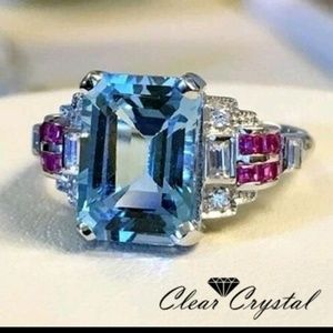 Jewelry - Luxury light blue princess cz in white gold filled